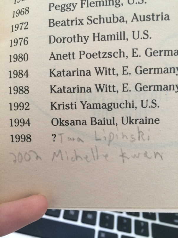 As an eight-year-old, I scrawled in the margins of books, begrudgingly updating the winner of the 1998 Olympics as Tara Lipinski and also pencilling in my prediction that Michelle would win in 2002. Damn you, Sarah Hughes.